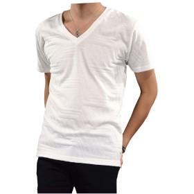 (ブラックバリア) BLACK VARIA Tシャツ ジャガード 幾何学模様 ジグザグ メンズ Vネック 無地 シンプル 半袖Tシャツ ホワイト白 320232 L