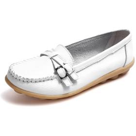[NEOKER] モカシン ローファー レディース フラットシューズ スリッポン ママシューズ コンフォート厚底 美脚 カジュアル 妊娠中の女性の靴 ドライビングシューズ サボサンダル 滑り止め 履きやすい ホワイト 26.5CM WH43