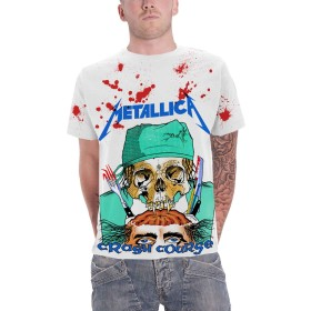 Metallica T Shirt Crash Course In Brain Surgery 新しい 公式 メンズ ホワイト All Over Size XL