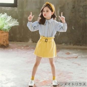 子供服 セットアップ キッズ 女の子 長袖 春秋 上下セット 韓国子供服 トップス ブラウス シャツ 立ち襟 ストライプ スカート 可愛い お