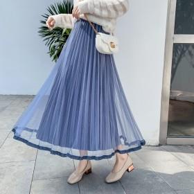 「秋冬/AW」ベロアスカート レディース ボトムス ゆったり Aライン ハイウエスト ふんわり プリーツスカート チュールスカート ロングスカート 可愛い 韓国ファッション