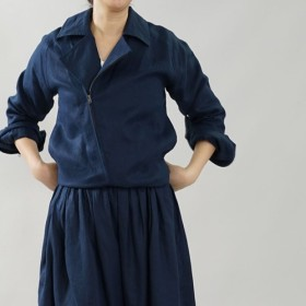 【wafu】中厚 リネン ライダースジャケット 袖丈長め 裏地リネン 2重仕立て / ネイビー h047a-neb2