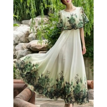 ボヘミア 着やせ 白効かせ 綺麗め 大振り裾 ワンピース