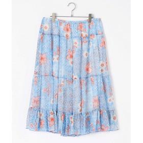 【SALE(三越)】<IMPORT BRAND> 大きいサイズ 花柄ロングスカート(42221)(クローバープラス) ブルー/オレンジ(POOLMUL)【三越・伊勢丹/公式】