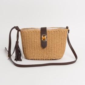 カゴバッグ - LI 【Via Demizon ビアデミゾン】バンブーひねり金具のショルダーかごバッグ