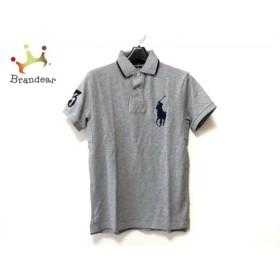 ポロラルフローレン 半袖ポロシャツ サイズXS レディース 美品 ビッグポニー グレー×ネイビー 新着 20190823