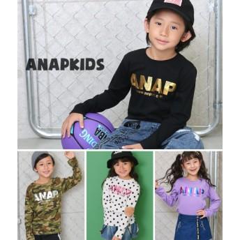 ANAP KIDS アナップキッズ 箔プリントアドレスロゴロンT