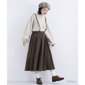 (merlot/メルロー)グレンチェック柄サスペンダープリーツスカート/レディース ブラウン