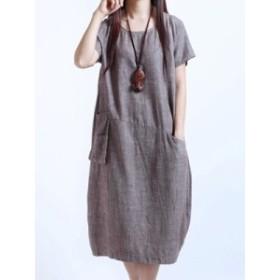 新品韓国風プラスサイズゆったり綿麻生地ロングスリム半袖カジュアルワンピース