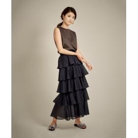5段フリルロングスカート