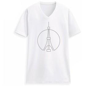 [Macoking] レディース tシャツ カットソー 夏服 ゆったり vネック 半袖 薄手 5.2oz オリジナル プリント 名建築 ファッション おしゃれ かわいい 面白い デザイン 東京タワー S サイズ