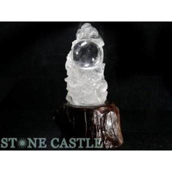 ☆置物一点物☆【天然石 彫刻置物】水晶 龍球 (台付) No.05