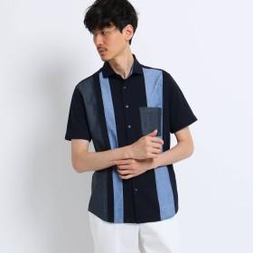 TAKEO KIKUCHI(タケオキクチ:メンズ)/ストライプ 切り替え 前開き ポロシャツ