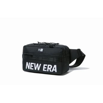 ニューエラ(NEW ERA) スクエア ウエストバッグ 7L プリントロゴ ブラック × ホワイト 12108396