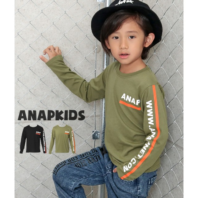 ANAP KIDS アナップキッズ ロゴラインプリントロンTee