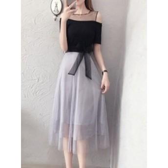 チュール スリム スウィート リボン飾り ファッション 丸ネック ワンピース