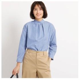 【インディヴィ/INDIVI】 [S]【マシンウォッシュ/UV/接触冷感】シルキーストライプ スタンドカラーシャツ