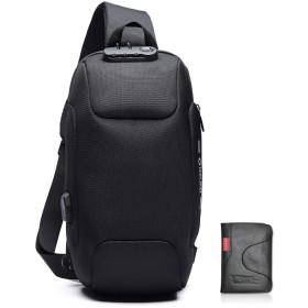 ボディバッグ メンズ USB ショルダーバッグ 大容量 軽量 防水 ワンショルダー 斜め掛けバッグ (ブラック)