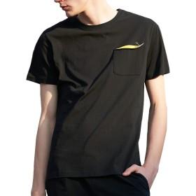 パイオニア キャンプ(Pioneer Camp) メンズ 半袖Tシャツ クルーネック コットンフィットカットソー 無地 ポケット付き シンプルカジュアルtシャツ 802084