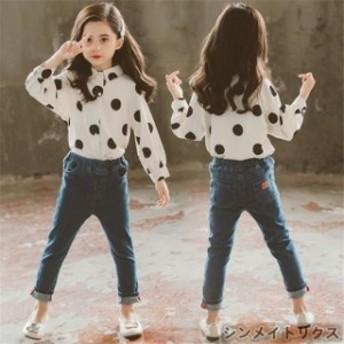 子供服 セットアップ キッズ 女の子 長袖 春秋 上下セット 韓国子供服 ブラウス シャツ 立ち襟 ドット柄 デニムパンツ 長ズボン 可愛い