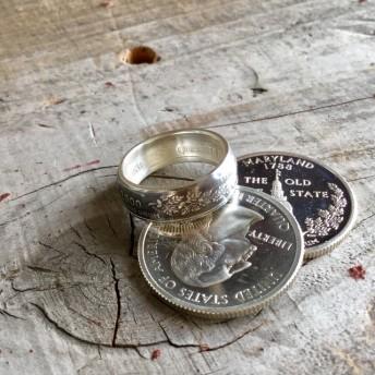 メリーランド州 アメリカクウォーターダラーコイン 樽型 メンズピンキー シルバーコインリング