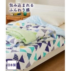 布団 日本製 プリント肌布団 デルタ柄 シングル  グリーン/ブルー ニッセン
