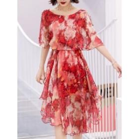 リボン付き 着心地いいファッション 花柄プリント ワンピース
