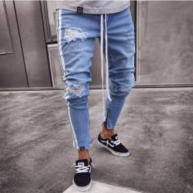 ダメージ ジーンズ メンズ デニム メンズ パンツ ホワイトライン付き、色薄いブルー 4季 綿 売り上げno1 伸縮 ストレッチ-P969