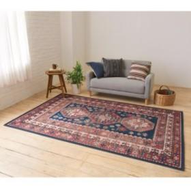 イタリア製ペルシャ絨毯風ヴィンテージプリントラグ〈オリエンテ〉 ブルー  709708