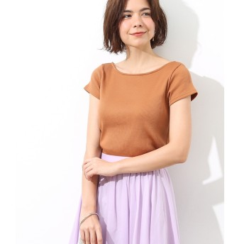 【ロペ マドモアゼル/ROPE madmoiselle】 バックレースアップテレコ半袖Tシャツ