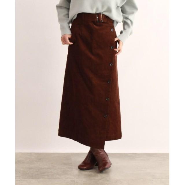 OZOC オゾック ベルト付きコーデュロイラップ風スカート