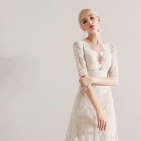 レース 刺繍 Aラインウェディングドレス 激安 ウェディングドレス 白 二次会 花嫁 ウェディングドレス カラードレス 長袖ウェディングド