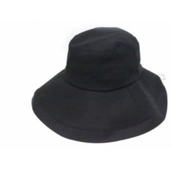 【中古】美品 ハット つば広帽 帽子 無地 シンプル 57 黒 ブラック /Z レディース