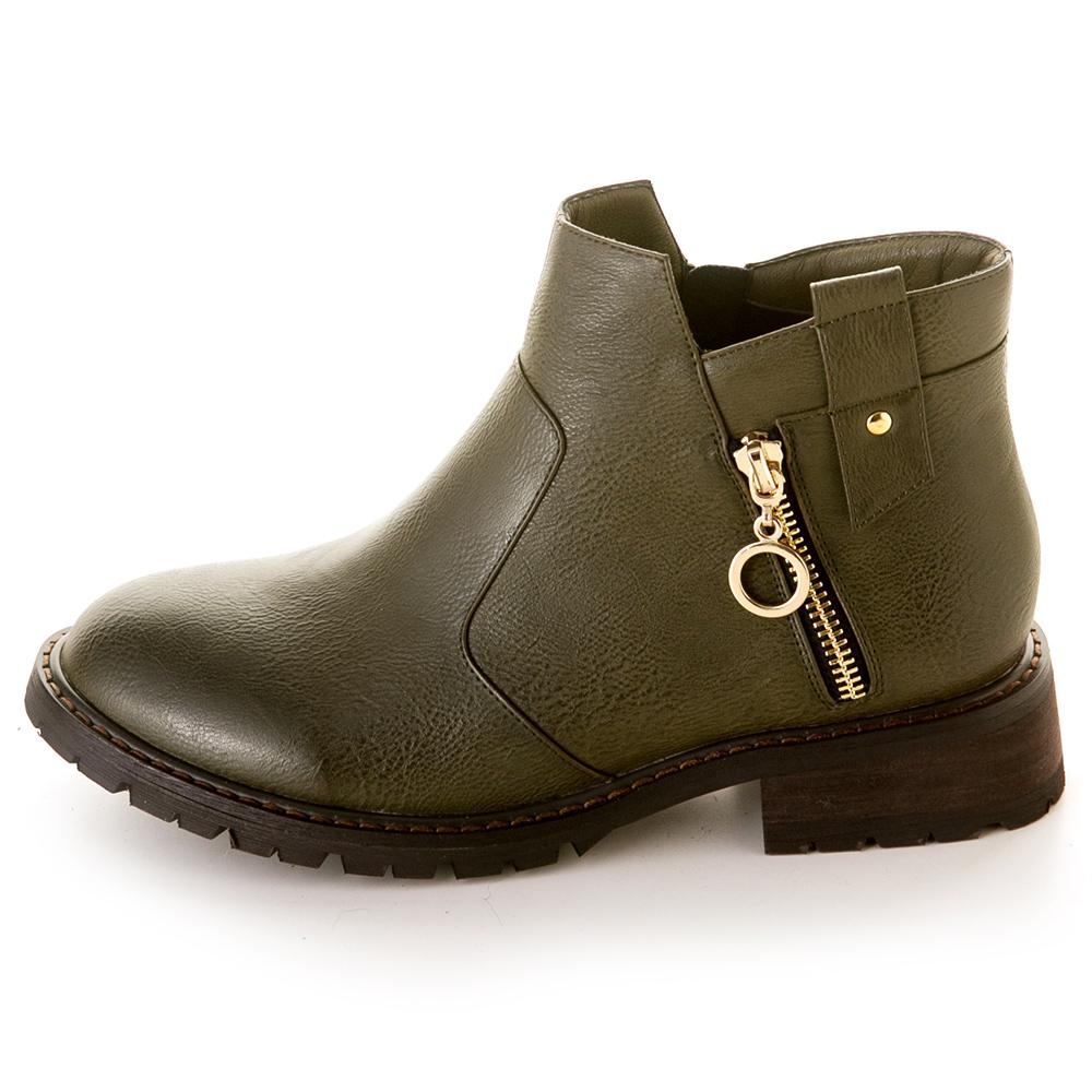 《Winnie維尼》作舊感金屬圓圈工程靴 綠 Z-12GN