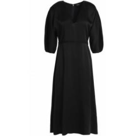 セオリー THEORY レディース ワンピース ワンピース・ドレス Fluted satin midi dress Black