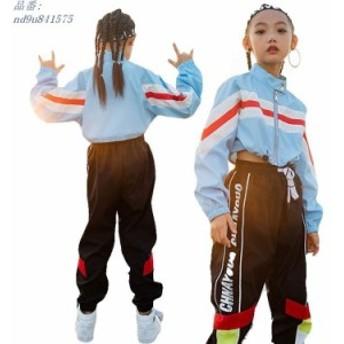 ヒップホップ キッズ ダンス衣装 レッスン着 韓国 Tシャツ ジャズダンス チア ダンスウェア 派手 長袖 ガールズ ジャズ ダンス練習着