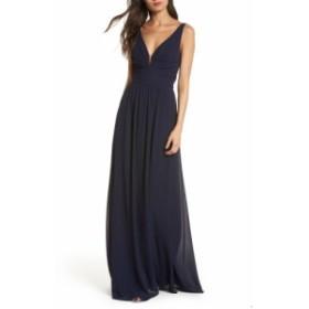 ルルズ LULUS レディース パーティードレス ワンピース・ドレス V-Neck Chiffon Gown Navy