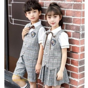 キッズ ジュニア 幼稚園制服 イギリス風 チェック柄 発表会舞台 2枚 男の子女の子シャツベストパンツスカート 上下セットアップ