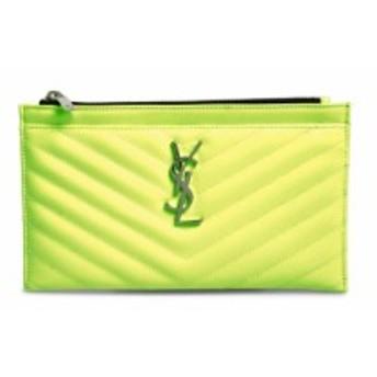 イヴ サンローラン SAINT LAURENT レディース ポーチ Monogram Matelasse Leather Pouch Neon Yellow