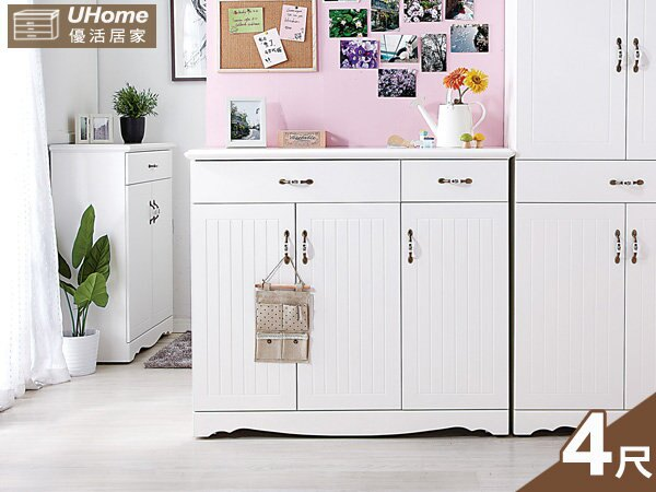 【UHO】康緹英式4尺全白鞋櫃