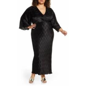 エロクイ ELOQUII レディース ワンピース ワンピース・ドレス Textured Long Sleeve Maxi Dress Black