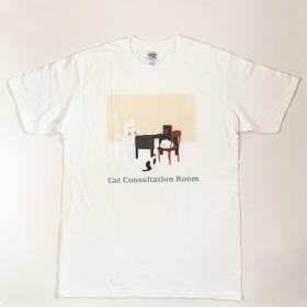 送料込み価格【Mサイズ/Tシャツ-<ネコちゃん相談室>】にゃんことみーこ