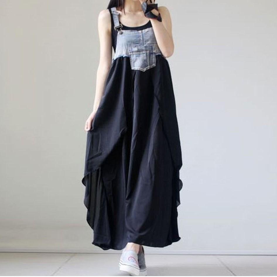 M-4XL大尺碼衣著大尺碼裙裝 牛仔長裙 牛仔拼接雪紡無袖 大尺碼洋裝 甜美遮肚背帶洋裝長裙200斤
