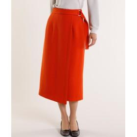 7-ID concept サッシュベルト付きラップ風スカート《Karl Karl》 ひざ丈スカート,オレンジ1