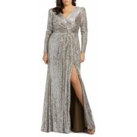 マックドゥガル MAC DUGGAL レディース パーティードレス ワンピース・ドレス Sequin Long Sleeve Gown Silver
