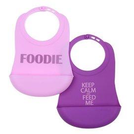 【淘氣寶寶】美國 CHEWBEADS嬰幼兒圍兜兜-粉/紫【防臭無橡膠味,不易生細菌,一體成形】