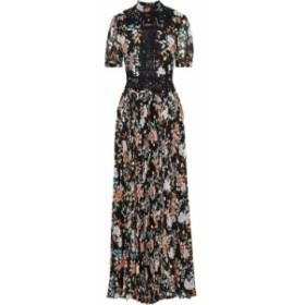 ミカエル アガール MIKAEL AGHAL レディース ワンピース ワンピース・ドレス Appliqued metallic floral-print plisse-chiffon maxi dres