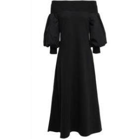 ゴエンジェイ GOEN.J レディース ワンピース ワンピース・ドレス Off-the-shoulder jersey-trimmed cotton-poplin midi dress Black
