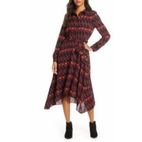 ドナ リッコ DONNA RICCO レディース ワンピース ワンピース・ドレス Long Sleeve Geo Print Shirtdress Black/Wine