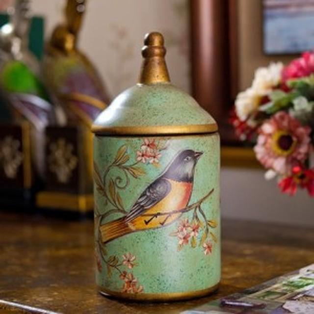小物入れ ヨーロピアンアンティーク風 小鳥デザイン 陶器製 蓋付き ジャー 缶 Green